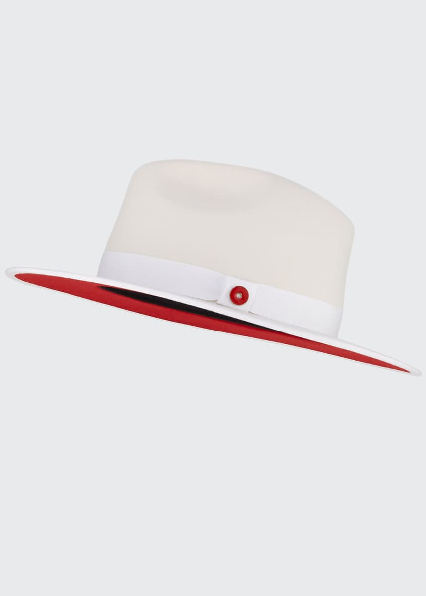 Keith and James Queen Red-Brim Wool Fedora Hat, White
