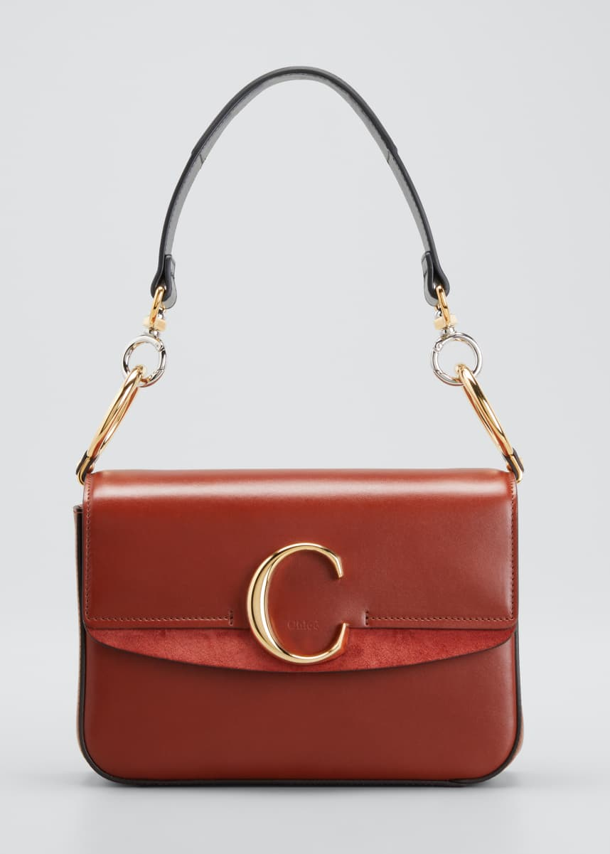 Chloe C Small Shiny Calf Leather Shoulder Bag