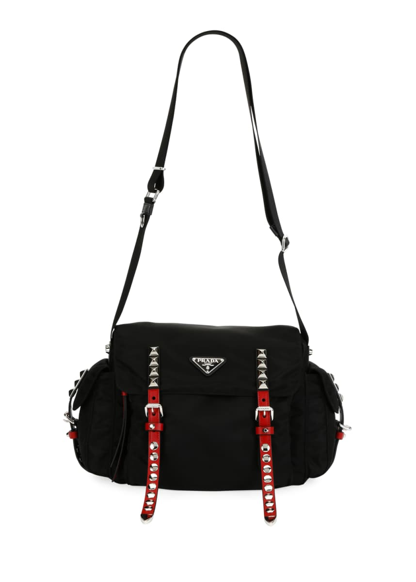 Prada Prada Black Nylon Bucket Bag with Studding