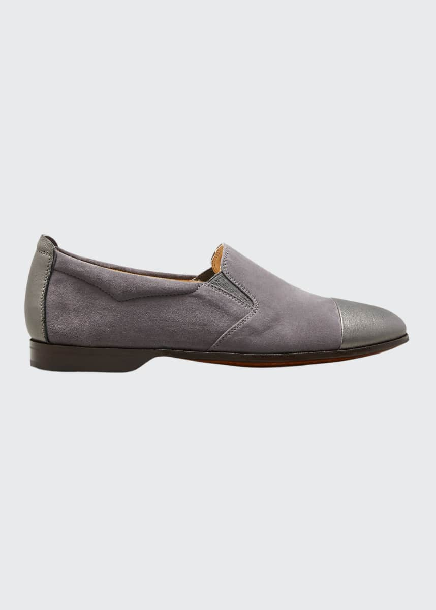 Gravati Metallic Cap-Toe Suede Loafers