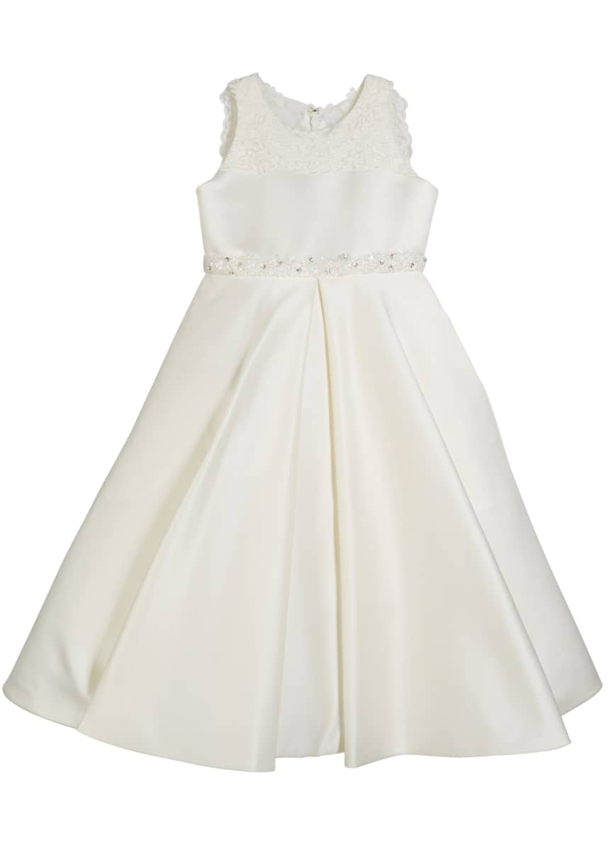 Joan Calabrese Lace-Trim Satin Dress, Size 4-14