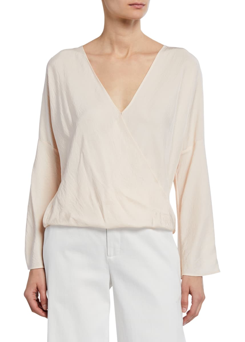 Vince Cross-Front Long-Sleeve Blouse