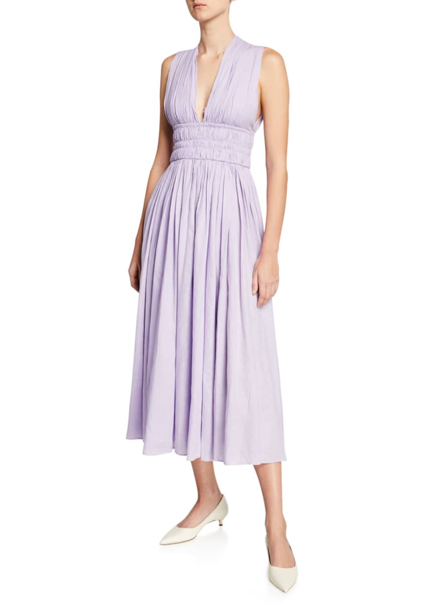 Gabriela Hearst Rotlein Sleeveless Ruched Aloe Linen Dress