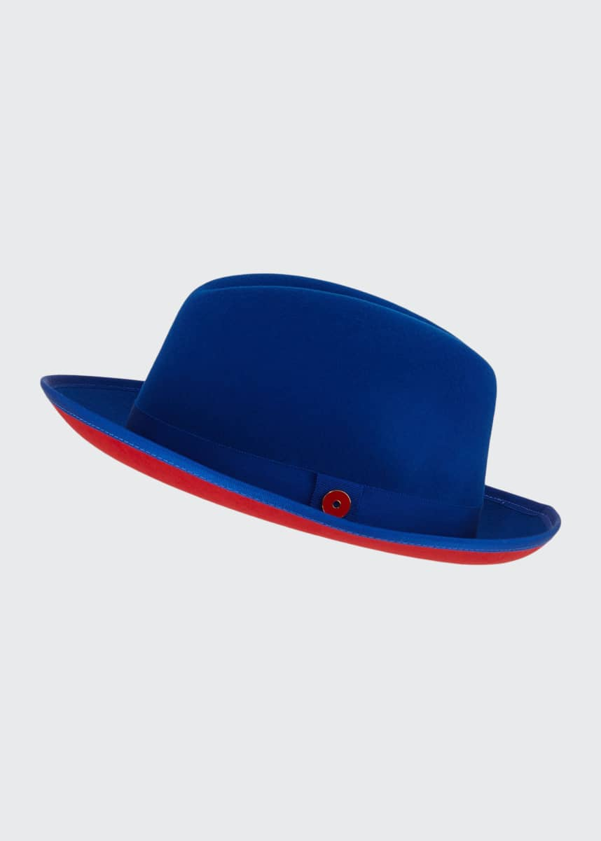 Keith and James Men's King Red-Brim Wool Fedora Hat, True Blue
