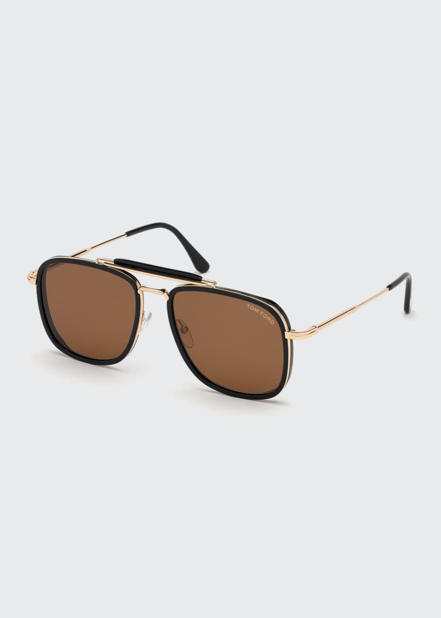 TOM FORD Men's Huck Metal Aviator Sunglasses