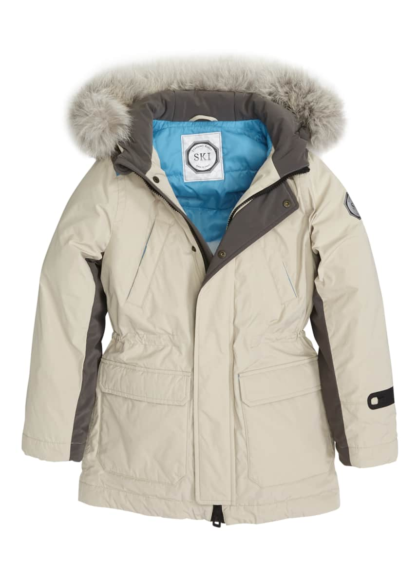Stefano Ricci Boys' Hooded Ski Jacket w/ Faux-Fur Trim, Size 10-14