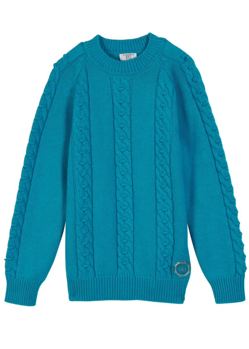 Stefano Ricci Boys' Cashmere Cable-Knit Sweater, Size 10-14