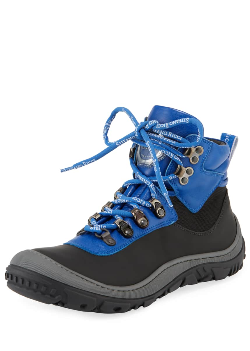 Stefano Ricci Leather Logo-Laces Ski Boots, Kids