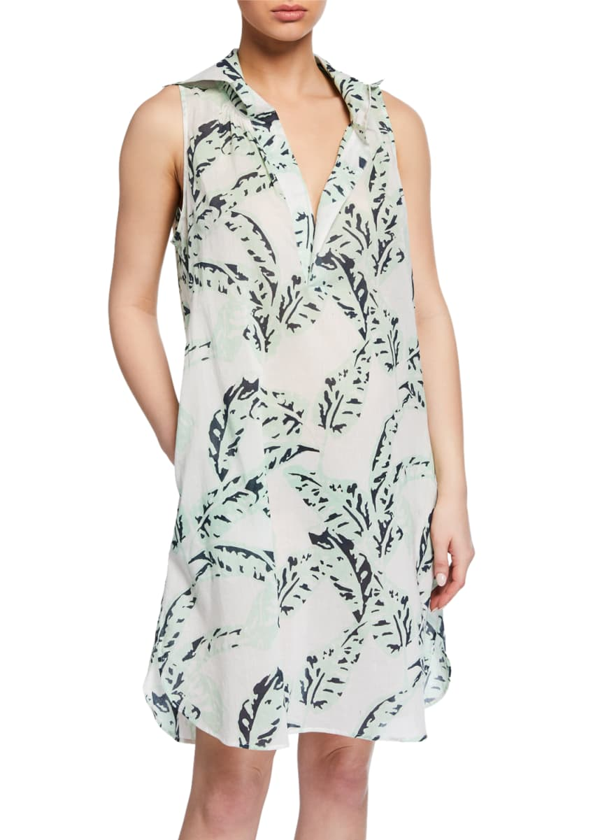 Pour Les Femmes Crown Leaf-Print Shift Nightdress