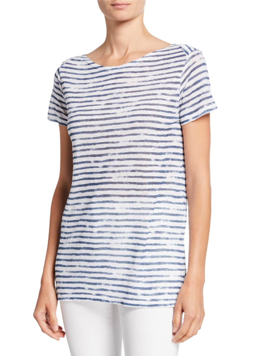 Majestic Striped Boat-Neck Short-Sleeve Linen Top