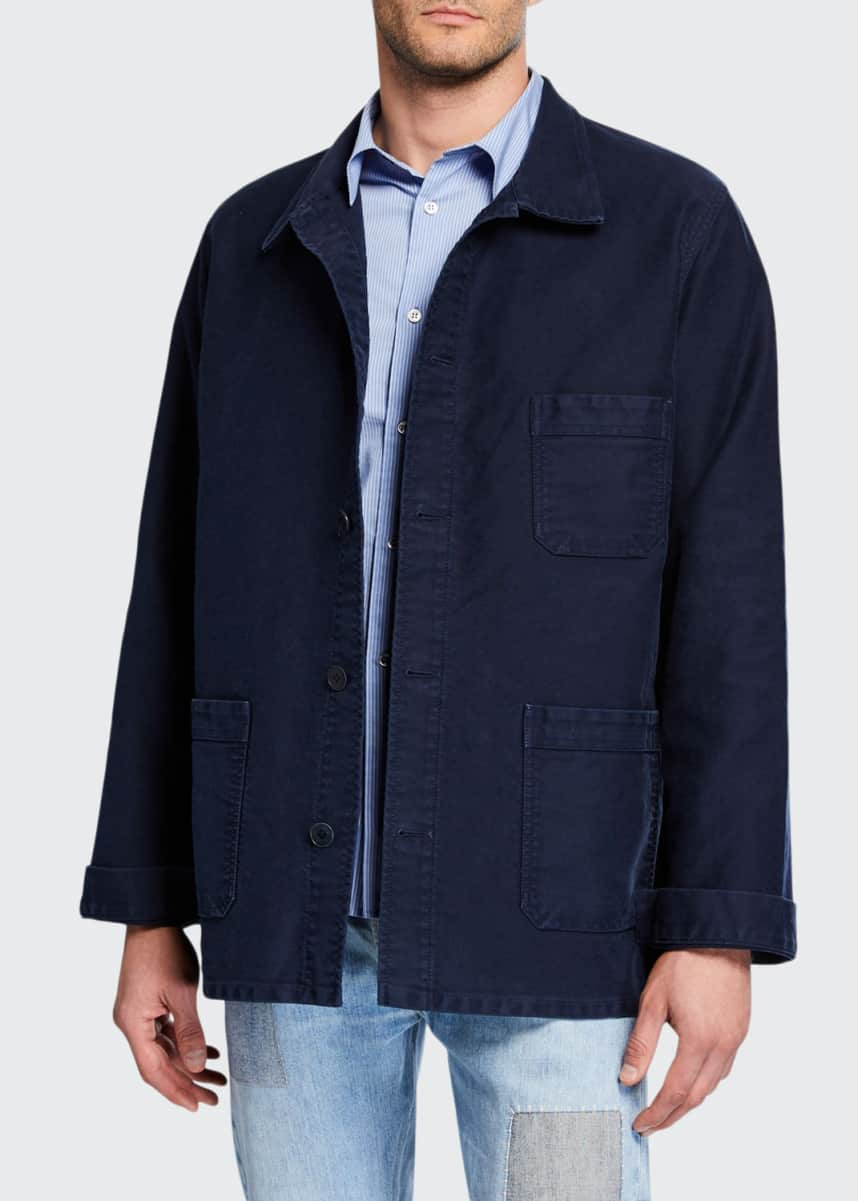 Le Mont St Michel Men's Stone-Washed French Worker Jacket