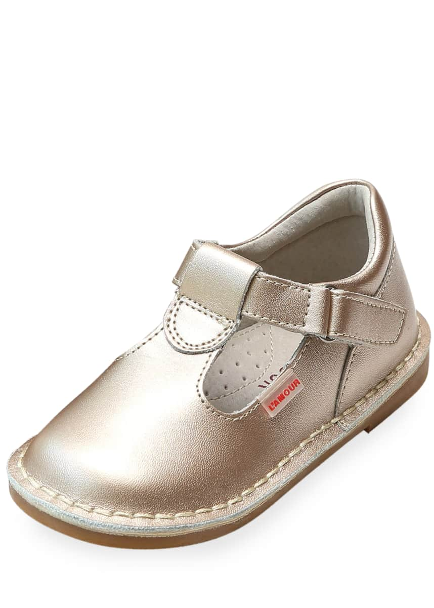 L'Amour Shoes Alexis Metallic Leather T-Strap Mary Jane, Baby/Toddler/Kids