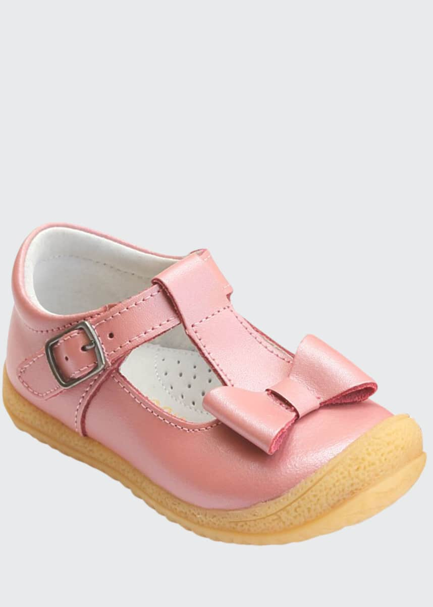 L'Amour Shoes Emma Bow T-Strap Mary Jane, Baby/Toddler/Kids