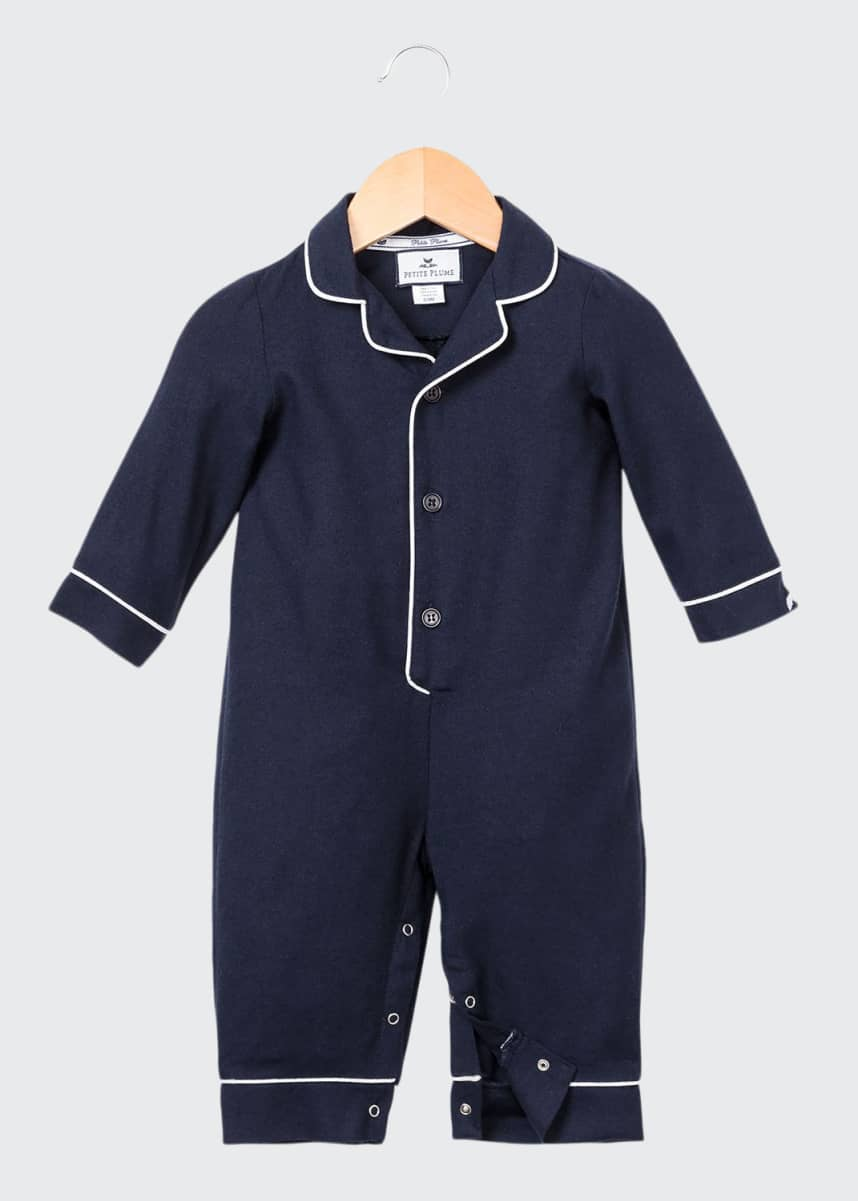 Petite Plume Contrast-Piping Collared Coverall, Size 0-24 Months