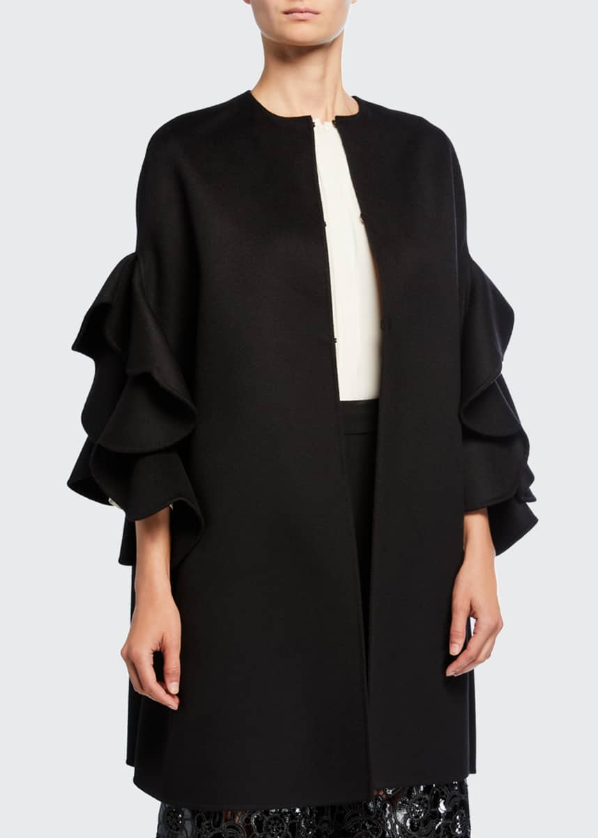 Valentino Ruffled Compact Draped Cape