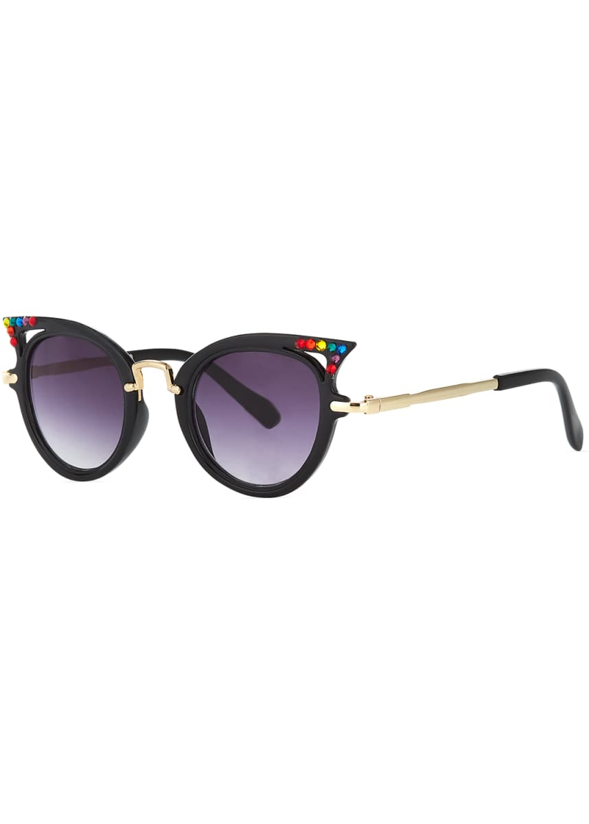 Bari Lynn Kids' Cat-Eye Sunglasses w/ Rainbow Swarovski Crystals
