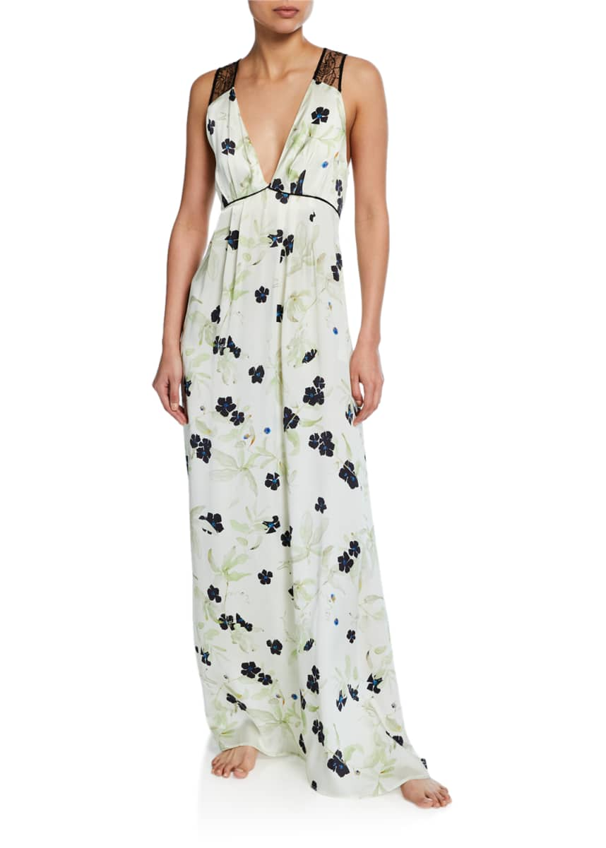Violet & Wren Floral-Print V-Neck Lace-Back Silk Satin Gown
