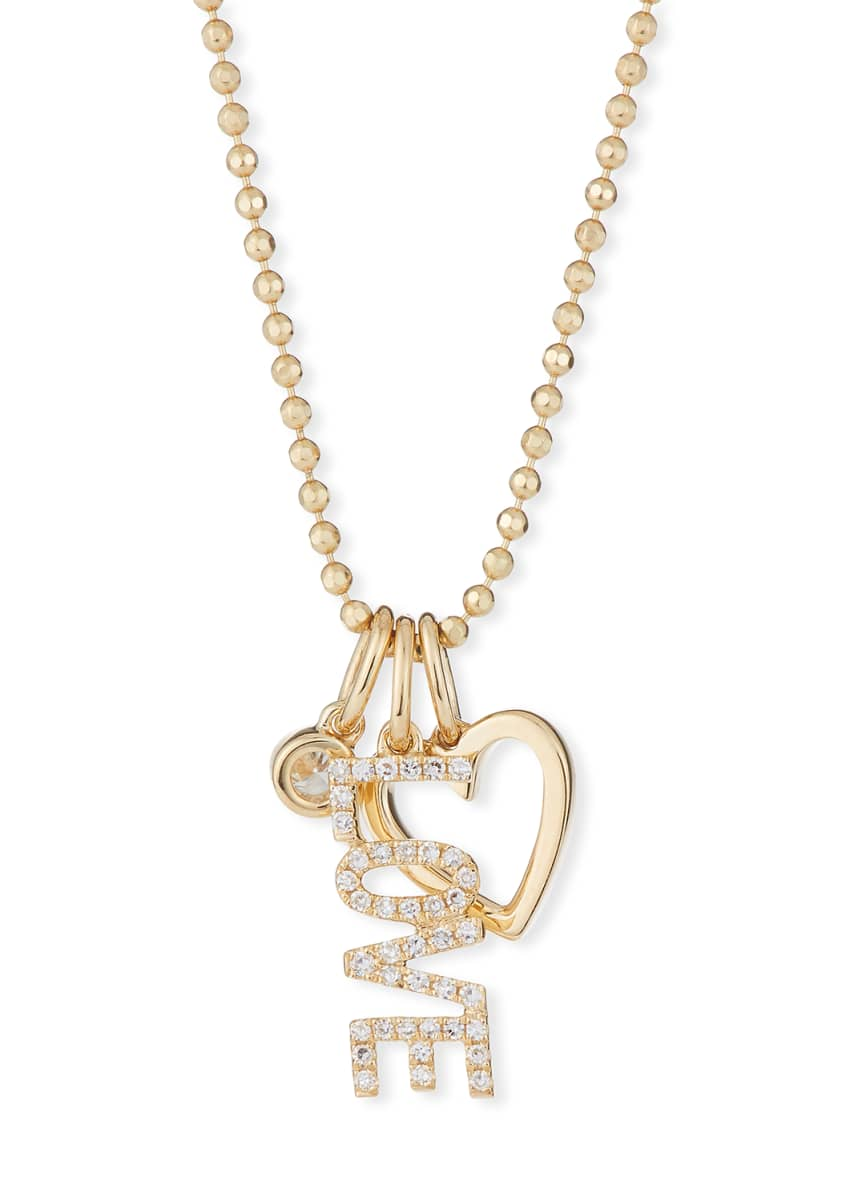 EF Collection 14k Diamond Love Charm Necklace