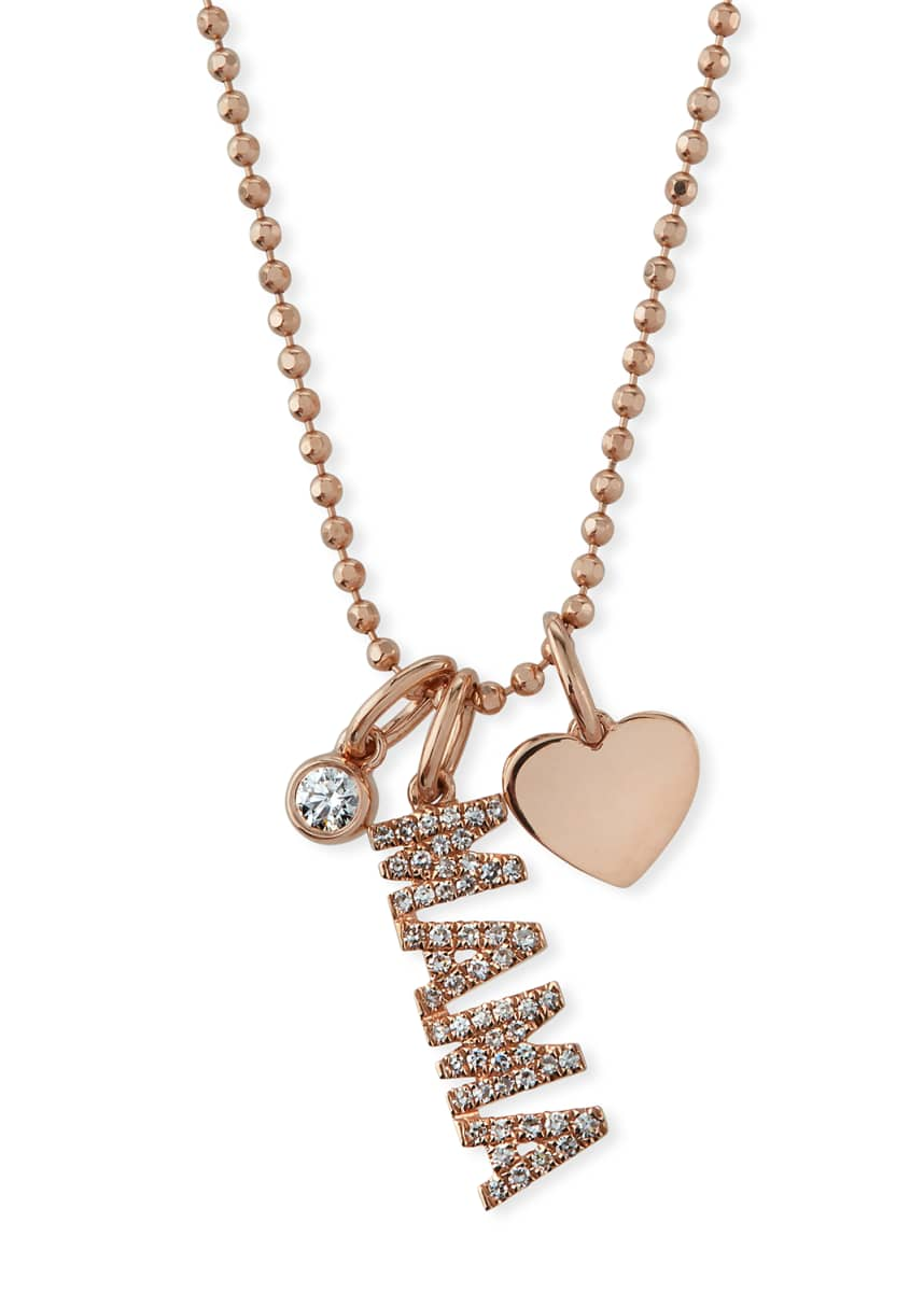 EF Collection 14k Rose Gold Diamond MAMA & Charm Necklace