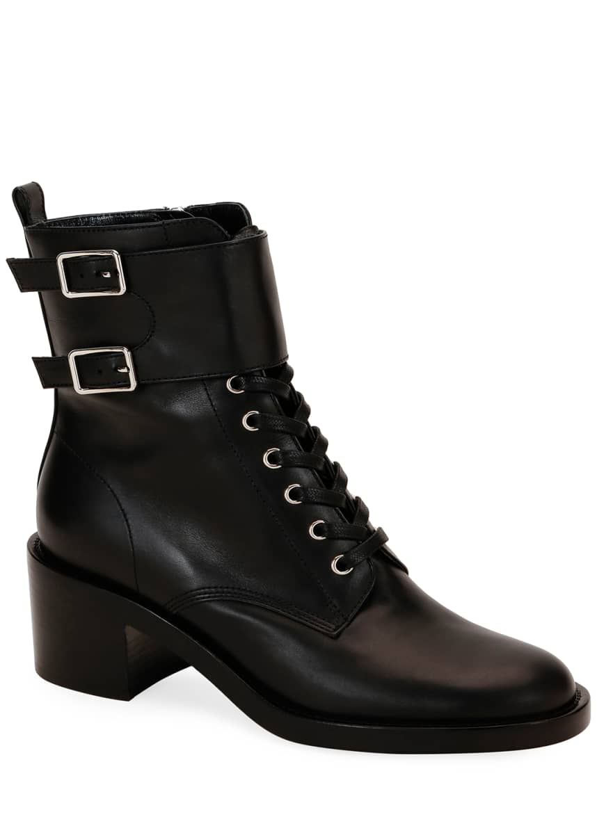 Gianvito Rossi Lagarde Calf Leather Side-Zip Combat Booties