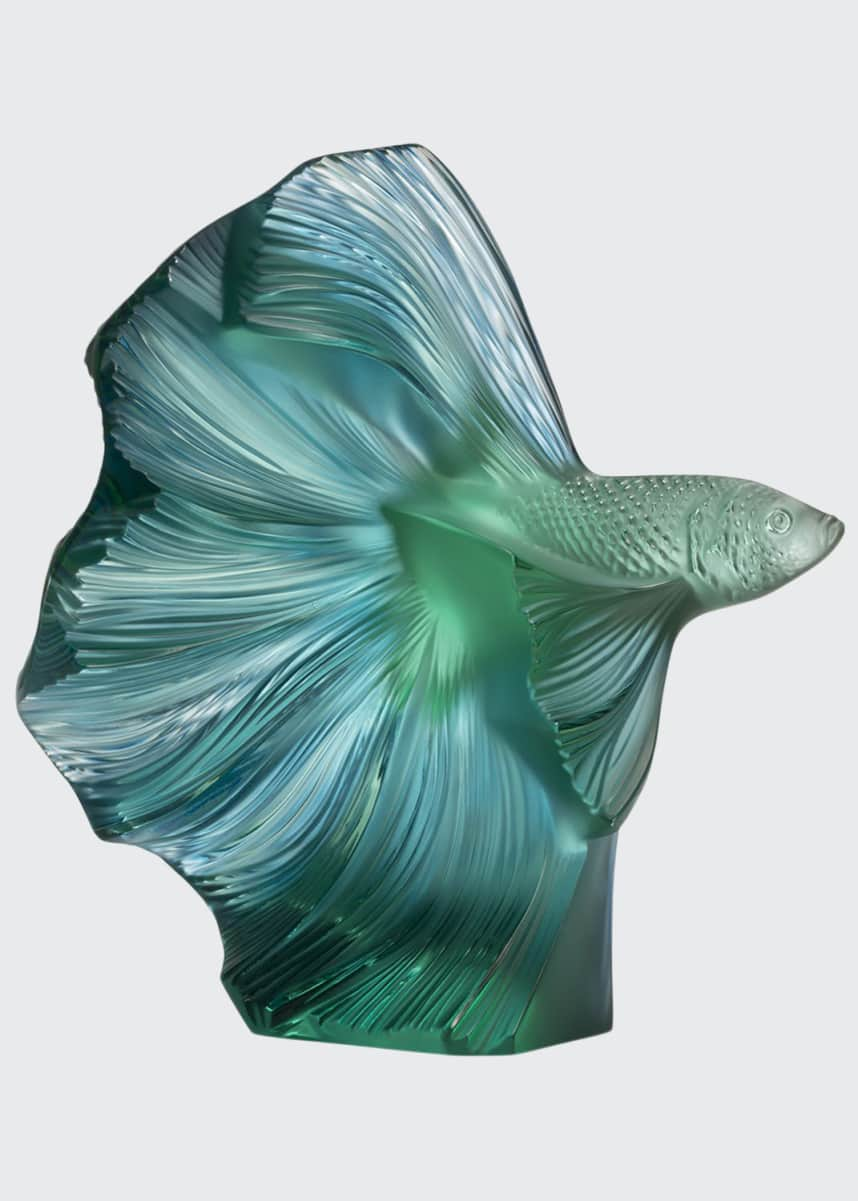 Lalique Fighting Fish Sculpture, Green