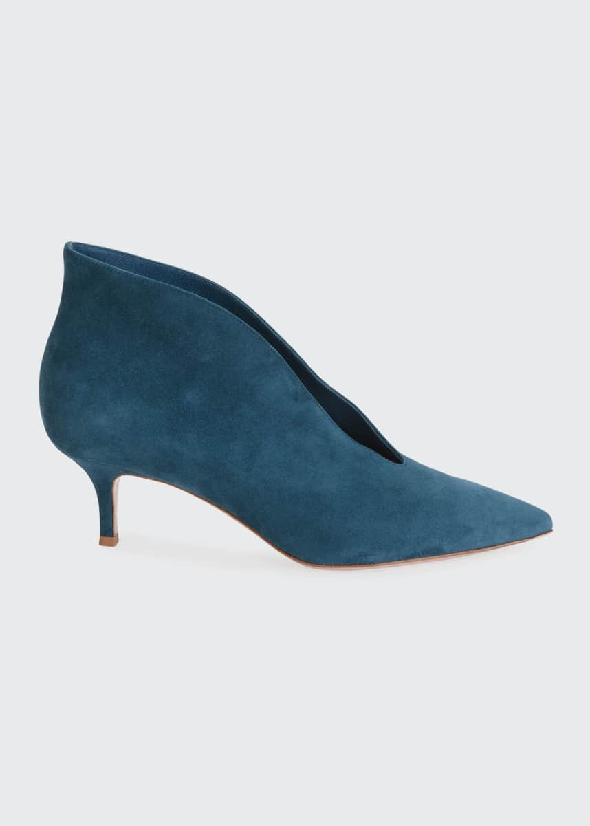 Gianvito Rossi Suede V-Neck Kitten-Heel Booties