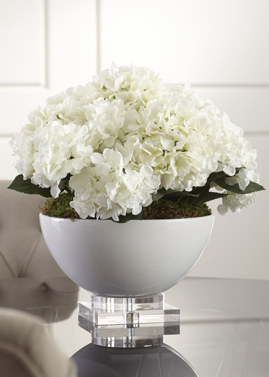 John-Richard Collection Hydrangea Floral Arrangement in Ceramic & Crystal Pot