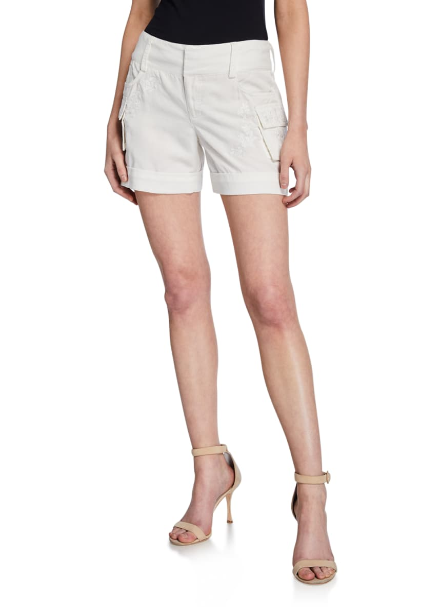 Alice + Olivia Cady Embroidered Cuffed Cargo Shorts
