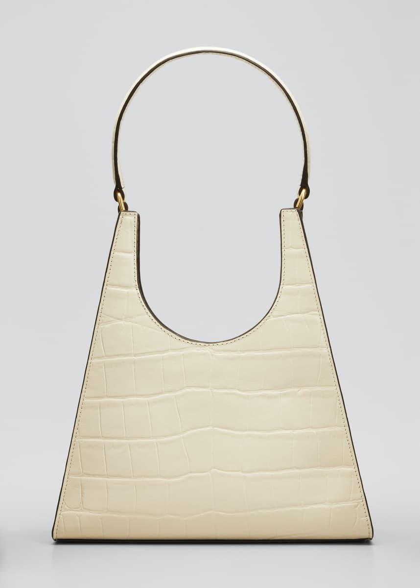 Staud Rey Croc-Embossed Hobo Bag