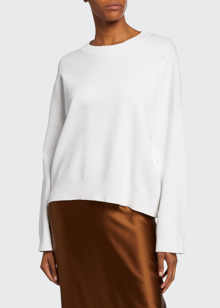 Vince Crewneck Long-Sleeve Boxy Washed Cotton Top