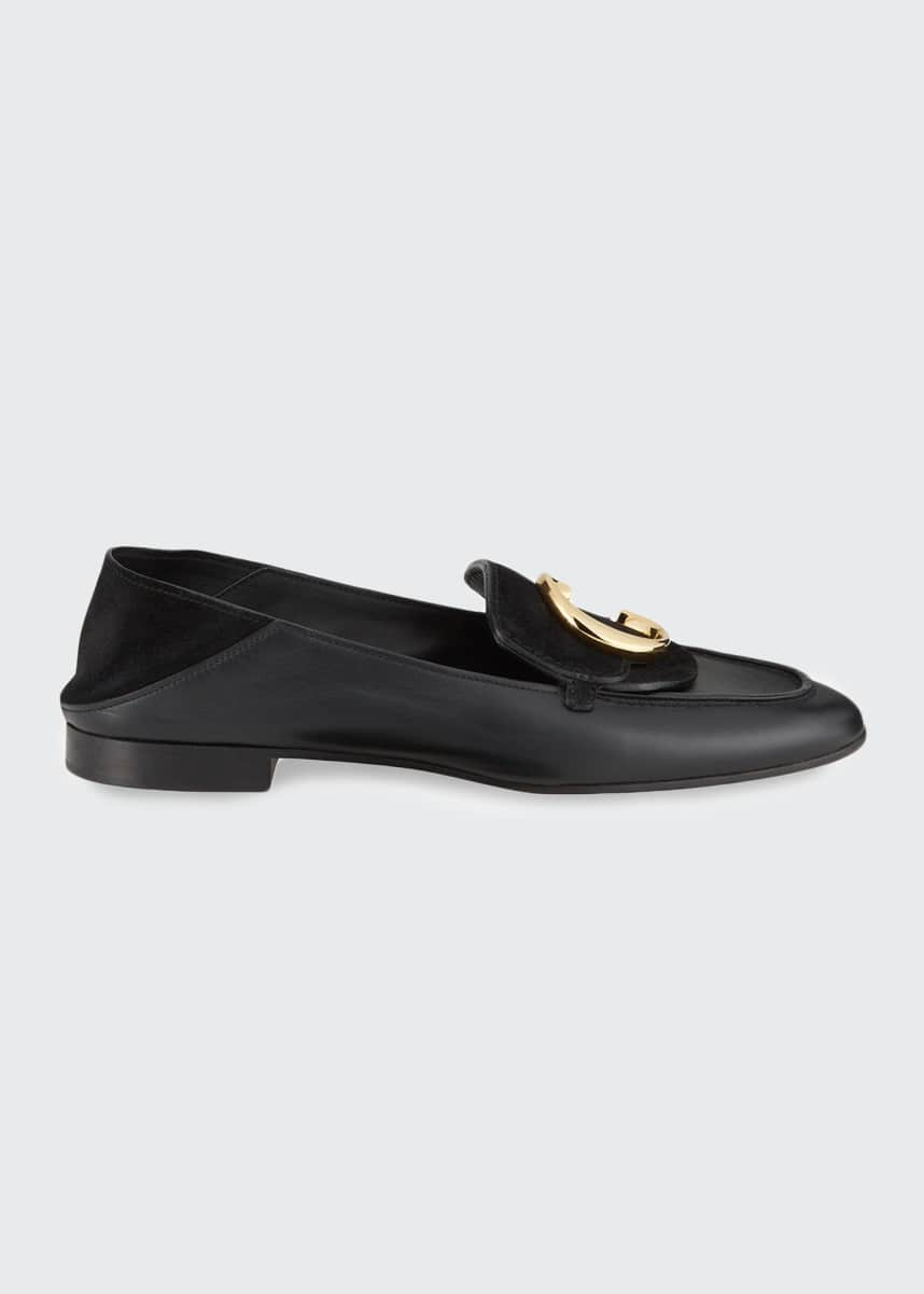 Chloe C Flat Leather Logo Fold-Down Loafers