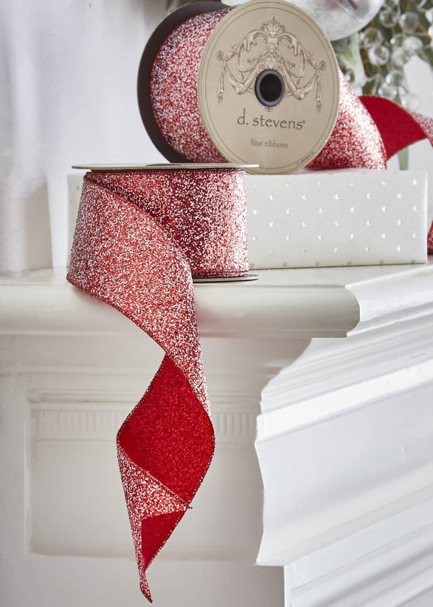D. Stevens Metallic Ribbon with Red and White Glitter