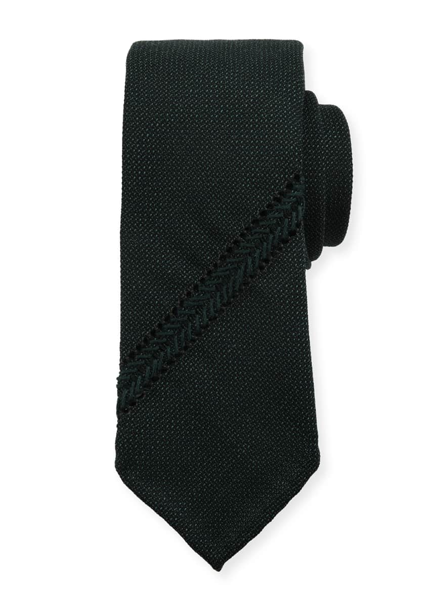 Tie Your Tie Hopsack Knit Tie w/ Diagonal Stripe, Teal