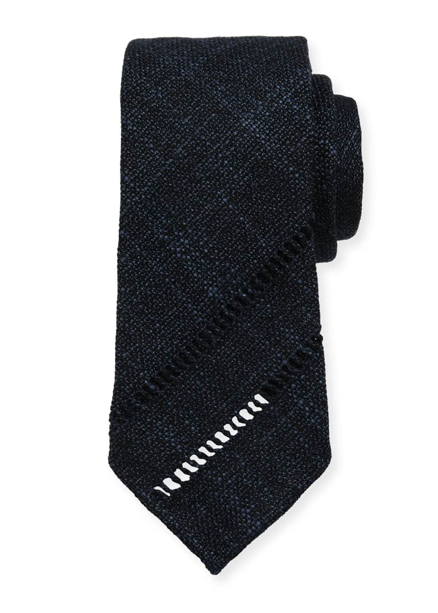 Tie Your Tie Melange Knit Tie w/ Diagonal Embroidery, Blue