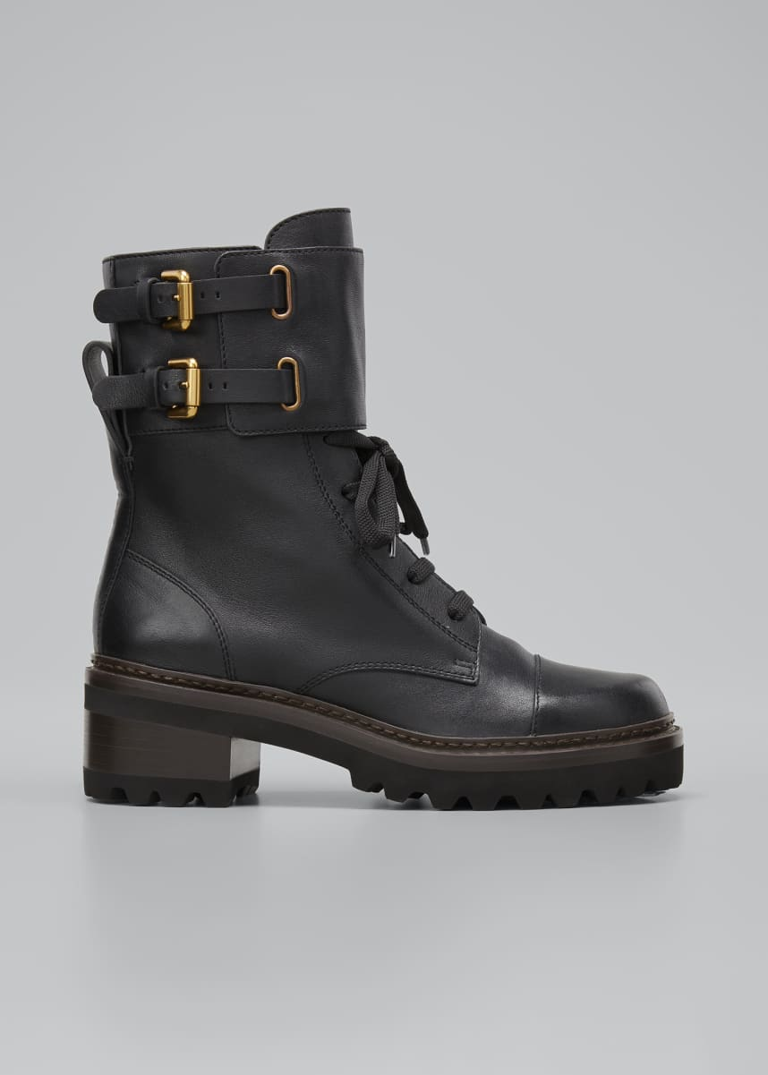 See by Chloe Leather Buckle Combat Boots