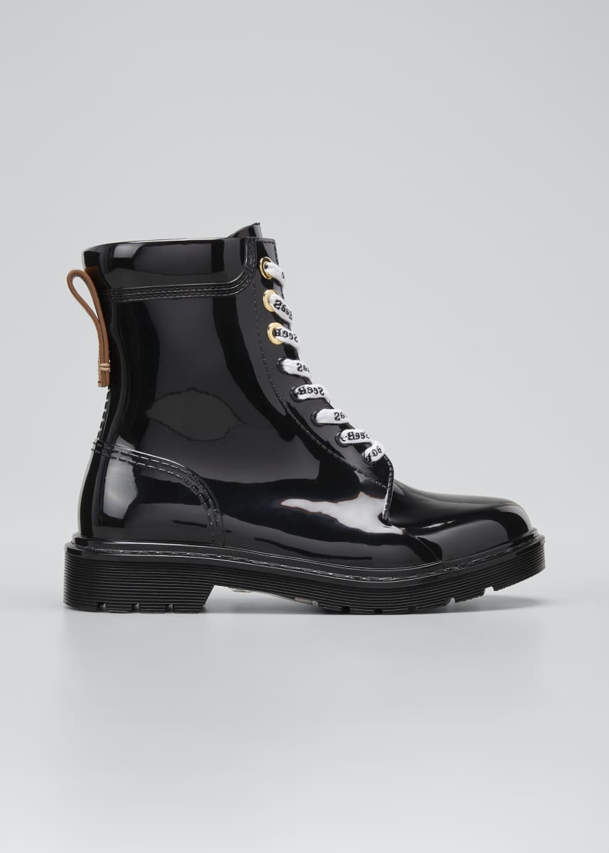 See by Chloe Rubber Lace-Up Rain Boots