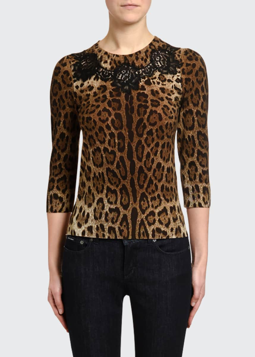 Dolce & Gabbana Leopard Print 3/4-Sleeve Laced Sweater