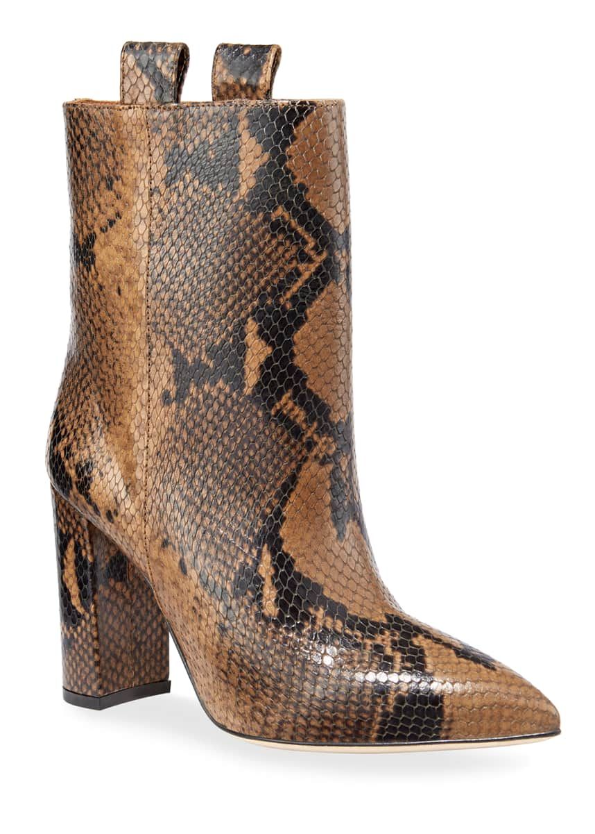 Paris Texas Snake-Embossed Block-Heel Booties