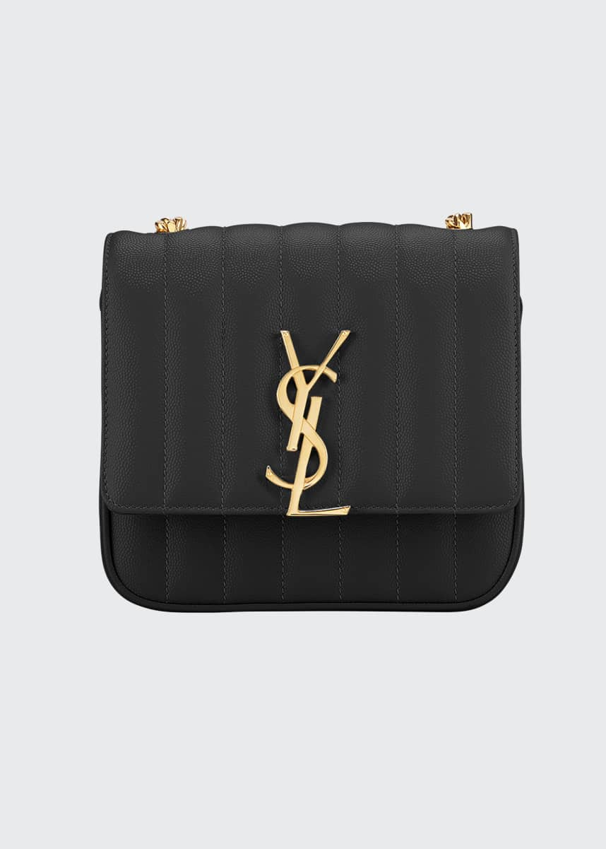Saint Laurent Vicky Small YSL Monogram Quilted Crossbody Bag