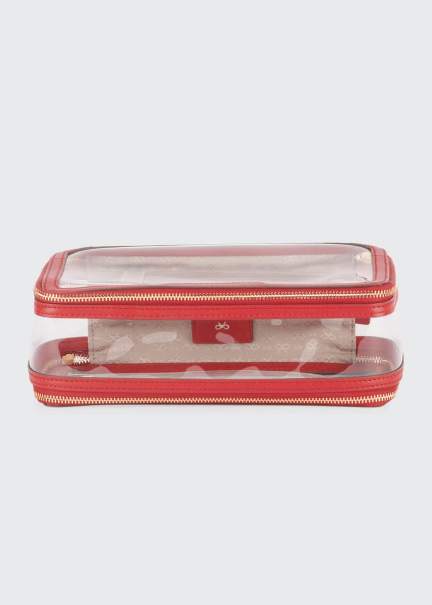 Anya Hindmarch Inflight See-Through Cosmetics Bag, Red