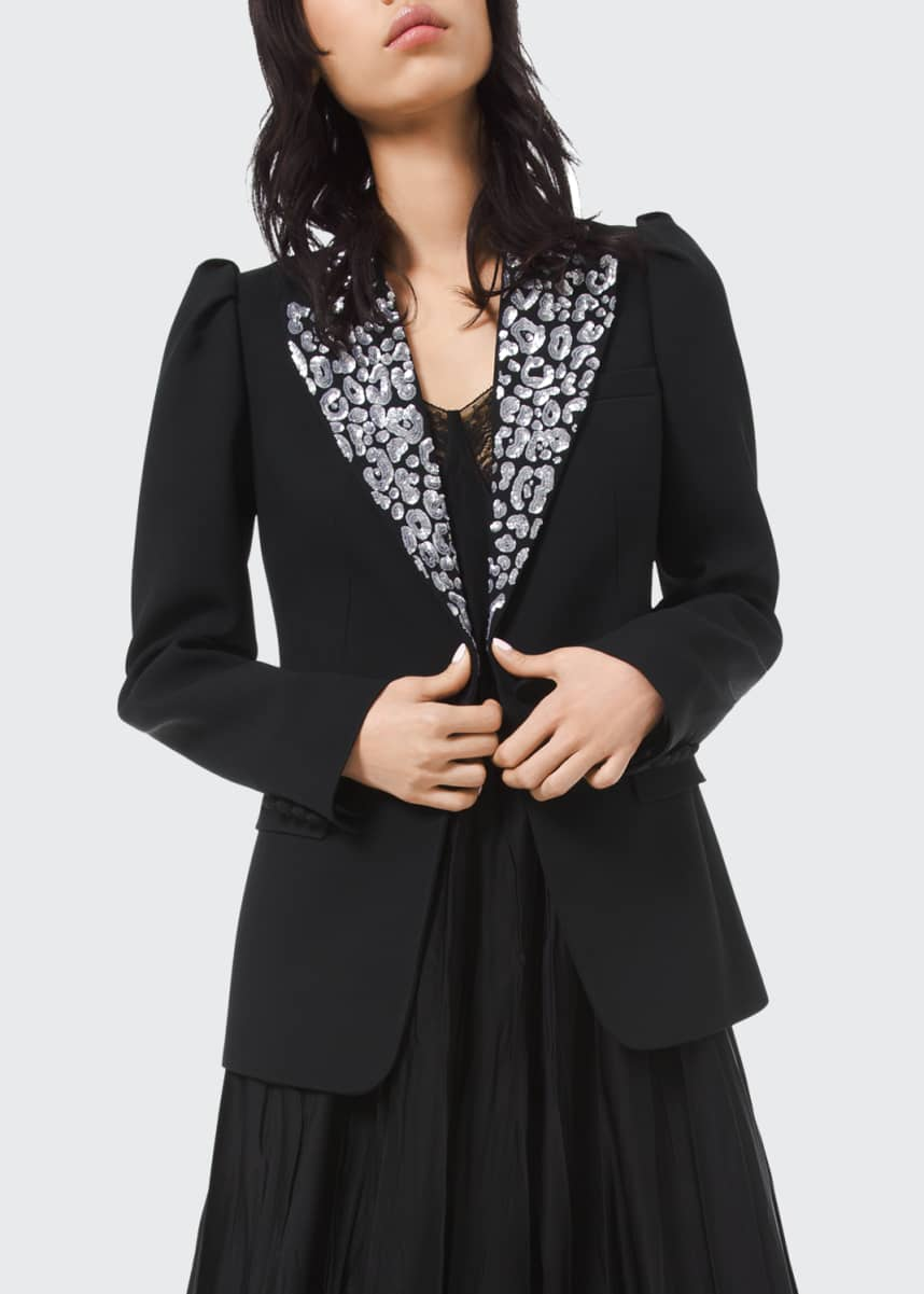 Michael Kors Collection Leopard Embroidered Puff Sleeve Blazer