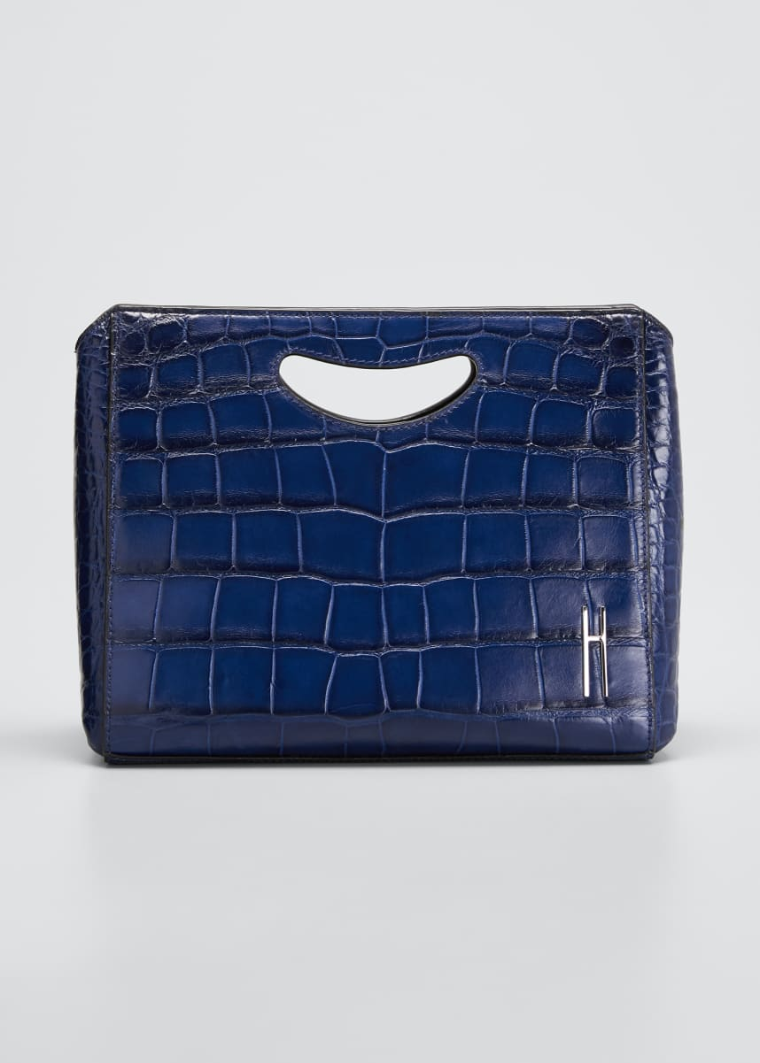 Hayward Alligator Basket Clutch Tote Bag