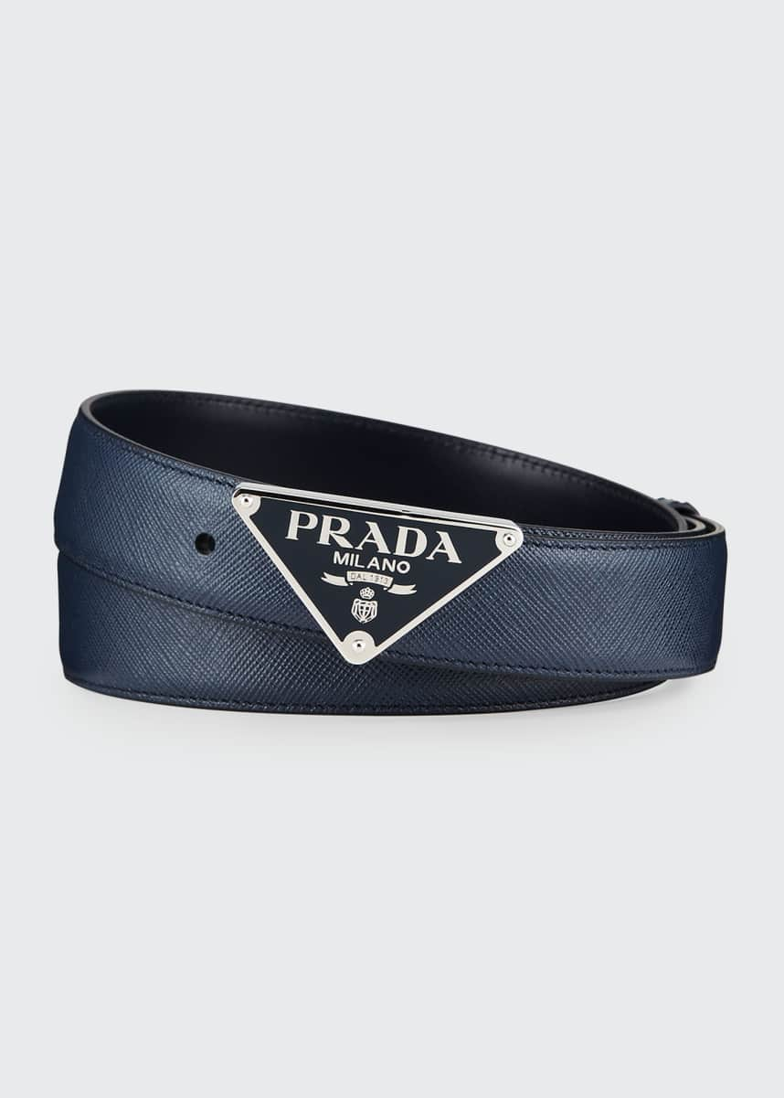Prada Men's Triangle Logo Leather Belt
