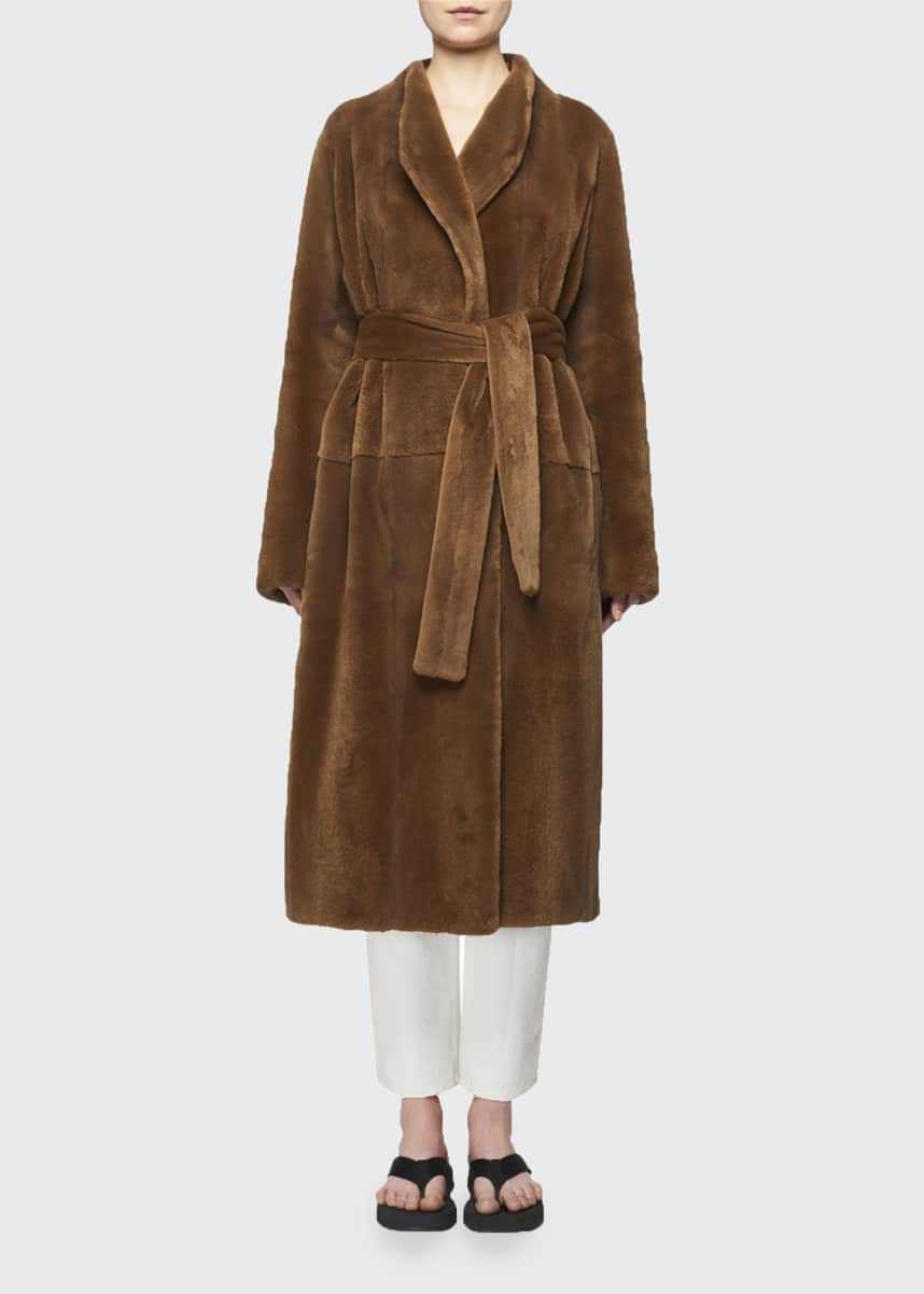 THE ROW Terin Mink Fur Wrap Belted Coat