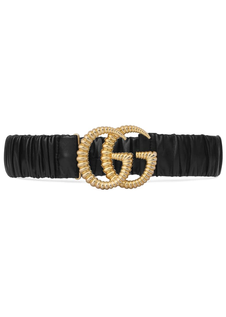 Gucci Elasticized Leather Belt w/ Torchon Double G Buckle