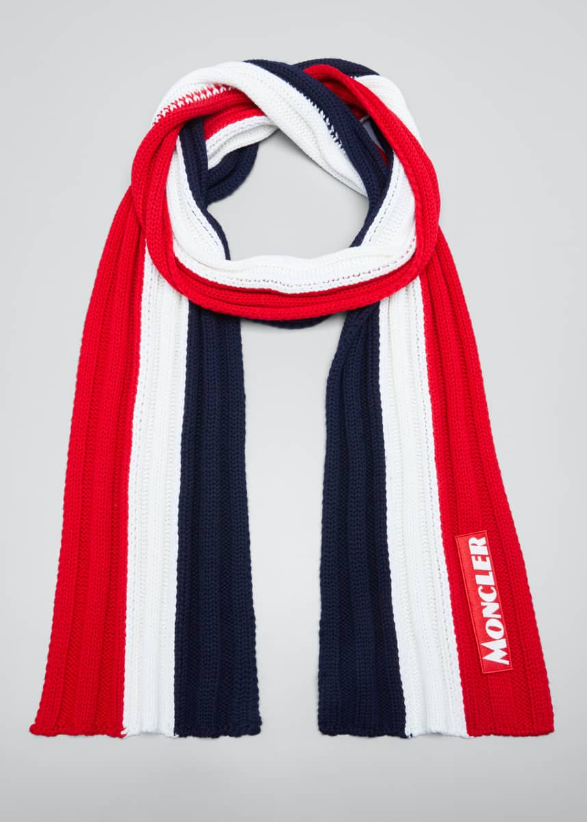 Moncler Men's Tricolor Chunky Wool Scarf