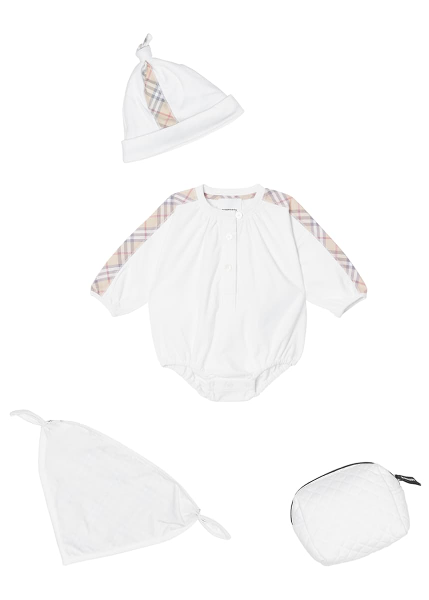 Burberry Berta Check-Trim 3-Piece Layette Set, Size 1-9 Months