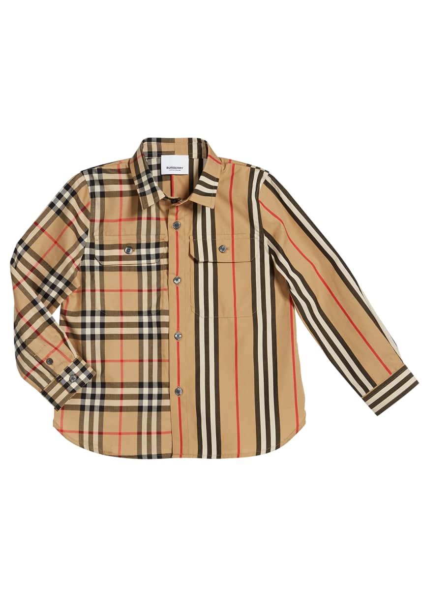 Oscar De La Renta Boys Check Woven Shirt 8Y Purple