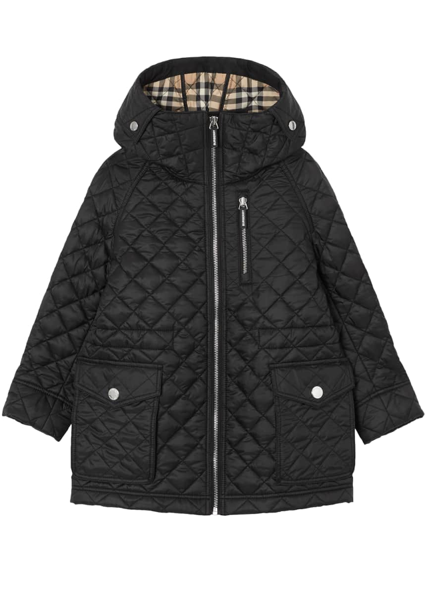 Burberry Trey Long Quilted Coat, Size 3-14