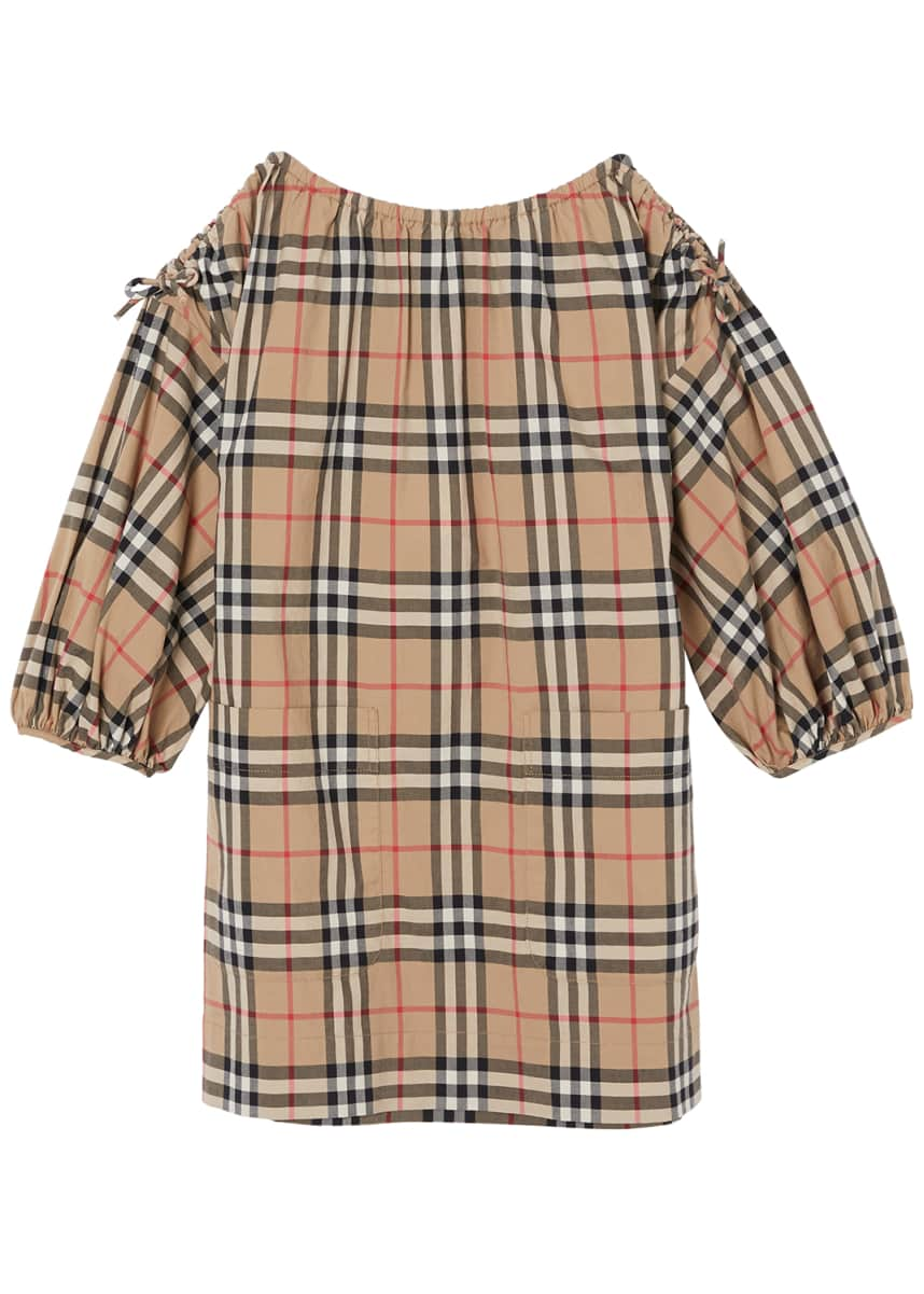Burberry Alenka Archive Check Long-Sleeve Dress, Size 3-14
